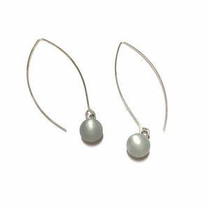 Light Gray Rain Frosted Moonglow Drop Earrings